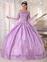 Off Shoulder Trumpet/Flare Sleeves Lilac Puffy Satin Quinceanera Ball Gown With Slip