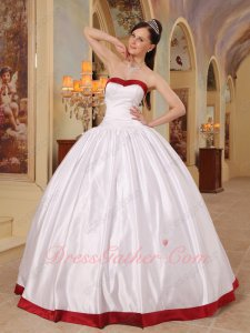 Simple White/Wine Red Bordure Quince Military Ball Gown Drinking Party