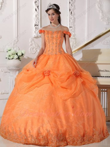 Off Flat Shoulder Orange Prom Ball Gown Half Organza Pick Up and Lacework Hemline