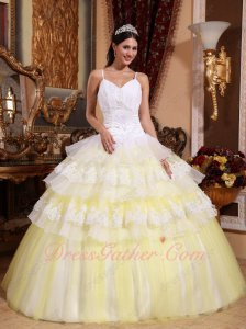 Spaghetti Straps Half Lacework Layers Half Flat Tulle Ball Gown White and Daffodil
