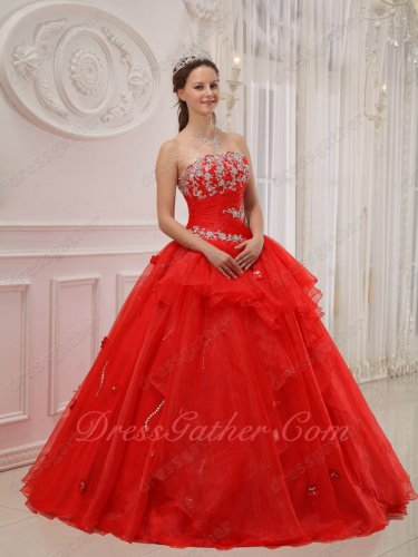 Scarlet Floor Length Not Very Fluffy Military Ball Dress Supplier Online Sale