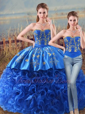 Detachable Top and Bottom Two Pieces Western Designer Embroidery Ball Gown Royal Blue