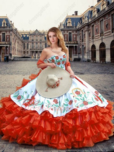 Embroidery White Bodice Overlay Quince Ball Gown Four-Layers Wave Red Horse Riding Quinceanera