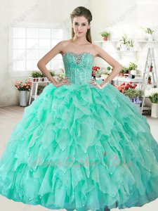 Triangular Organza Ruffles Puffy Skirt Apple Green Adult Quinceanera Style Gown