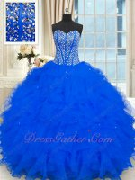 The First Communion Full Silver Beading Bodice Royal Blue Quinceanera Gown Ruffles