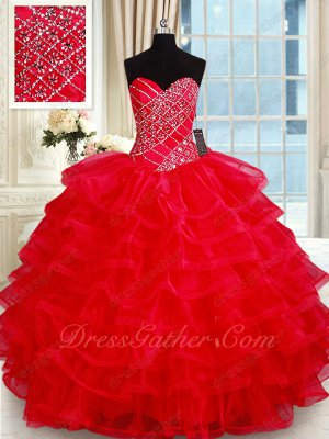 Floor Length Red Multilayers Organza Cake Quinceanera Girl Ball Gown Horsehair