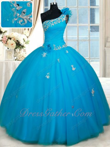 One Shoulder Deep Sky Blue Tulle Folds Flat Skirt Quinceaneara Ball Gown Inexpensive