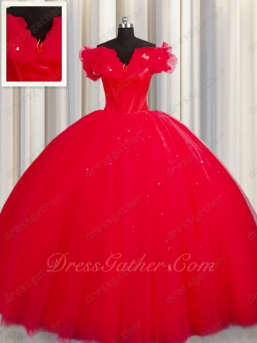 Off Shoulder Bubble Neckline Scarlet Layers Tulle Military Ball Gown For Discount