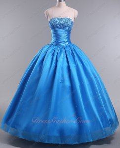 Azure Blue Organza Plain Smooth Quince Ball Gown With Hard Tulle Inside Make Puffy