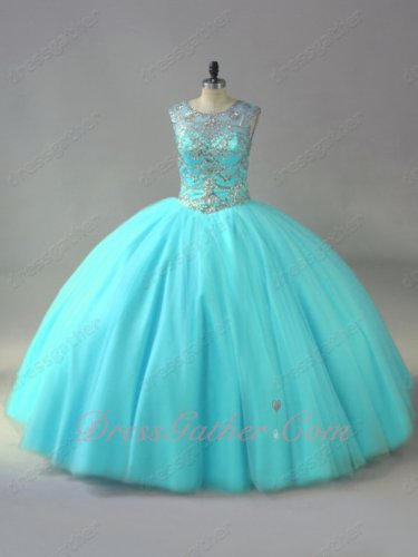 Sheer Scoop Silver Beading Bodice Dancing Quinceanera Ball Gown Ice Blue Tulle Crazy