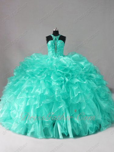 Hollow Out Cleavage Apple Green Waterfalls Sweep Train Vestidos De Quinceanera Gowns
