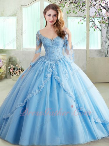 Light Sky Blue Long Trumpet Sleeves 16 Years Puberty Wear Quinceanera Ball Gown