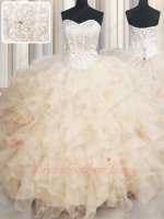 Dense Organza Ruffles Beadwork and Lines Bodice Banquet Ball Gown Pearl Champagne