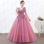 Elegant Trumpet Sleeve 3D Applique Dust Rose Pink Military Evening Ball Gown Princess
