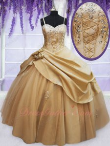 Spaghetti Straps Pick Up Satin and Tulle Gold Quinceanera Ball Gown Girls' First