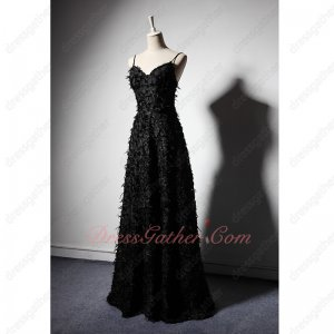 Shiny Black Lace With Feather Special Occasion Prom Dress Advanced Customization