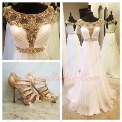 Dignified Crystals Cut Out Bateau Neck White Chiffon Ballroom Dance Dress Online