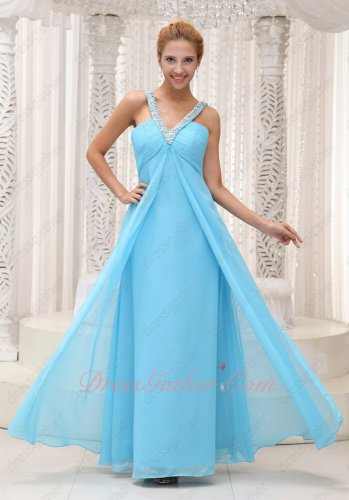 V-Shape Double Straps Aqua Blue Front Middle Slit Open Formal Dress EOS Promotion