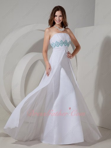 Strapless Empire Middle Slit Long Pure White Chiffon Skirt Formal Girls Dress Attire