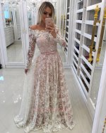 Flat Shoulder Long Sleeves Off-White Lace Skirt Cover Pale Mauve Gown
