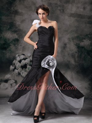 One Strap High Low Mermaid Cocktail Evening Dress Black Taffeta With Silver Lining