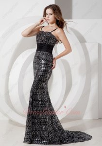 Spaghetti Straps Black and Silver Mingled Shiny Sequin Mermaid Prom Dress High End
