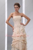 Crossed Cascade Layers Bisque Champagne/Beige Chiffon Formal Gowns Dress
