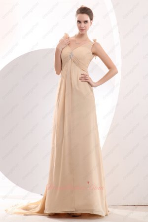 Demure V-Neck Peach Apricot/Champagne Pretty Formal Women Evening Prom Attire