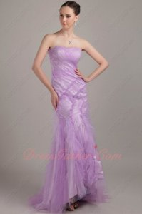 Lilac Soft Tulle Mermaid Package Body Curvy Figure Lady Elegant Formal Gowns
