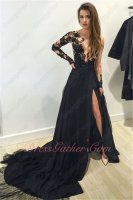 Nude Tulle Transparent Upper Bodice Long Sleeves Prom Dress Sexy Slit