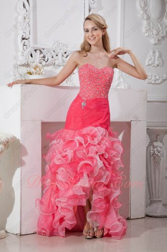 Beadwork High-Low Watermelon/Off White Mingled Ruffles Pretty Mermaid Evening Gowns