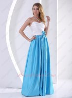Brief White Blouse Aqua Blue Floor Length Smooth Skirt Online Formal Party Dress Junior