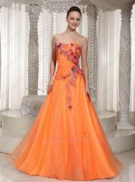 Hot Sell Orange Yellow Organza A-line Formal Pageant Gowns Exquisite 3D Appliques
