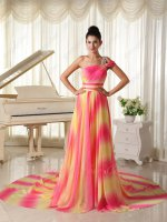One Strap Hot Pink/Bright Yellow Ombre Shaded Gradient Chiffon Cocktail Evening Dress
