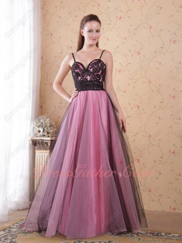 Spaghetti Straps Black Tulle Outside/Pink Lining Evening Dresses Old Style