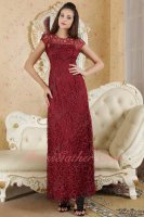 Jewel/High Collar Ankle-Length Wine Red Curve Lace Formal Prom Dress Carnival