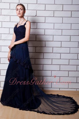 Spaghetti Straps Navy Blue Formal Evening Dressing Up Layers With Lacework