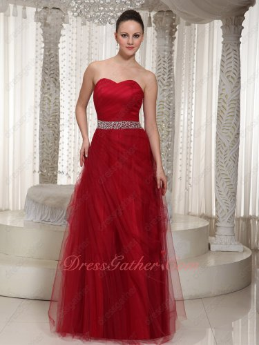 Soft Wine Red Mesh Sweetheart Senior Formal Prom Dress Clearance Website Online