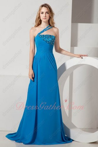 One Strap Sweep Train Azure Blue Chiffon Recommend Latest Formal Evening Gowns