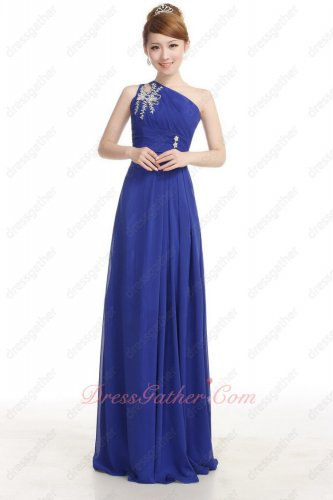 Suitable One Shoulder Royal Blue Chiffon Evening Dress Factory Direct Shipping