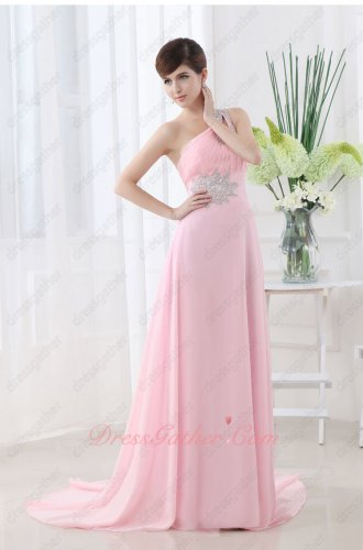 Plicated One Shoulder Pink Empire Ceremony Presenter Dress With Silver Details