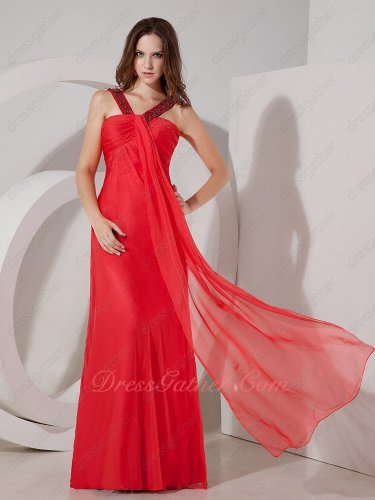 V-Shaped Double Straps Middle Front Flowing Strip Empire Red Prom Dress Gowns