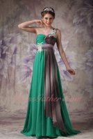 Turquoise Chiffon One Shoulder Strap Formal Evening Prom Dress 2020