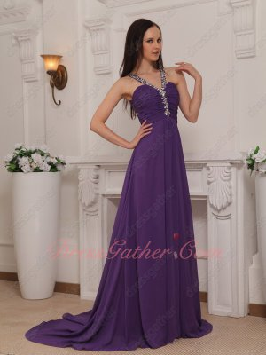 Empire A-line Court Train Eggplant Chiffon Beaded Straps Formal Party Event Gowns