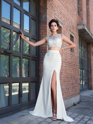 Beaded Sheer Scoop Neck 2 Pieces White Prom Gowns With High Slit Show Leg