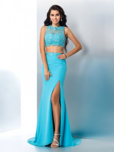 Sexy Aqua Blue Long Chiffon Skirt With High Slit Prom Evening Gown 2 Pieces