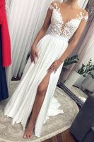 Sheer Nude Tulle Scoop Neck Cap Sleeves White Slit Skirt Prom Pageant Gowns