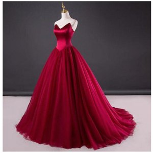 Designer Sharp V Neckline Strapless Basque Dark Red Quinceanera Dress Sweet 16th Ball Gown
