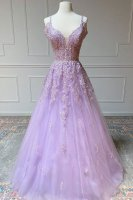 Sparkle Lilac Applique Pageant Gowns Flutter Off Shoulder Sleeves With Strap
