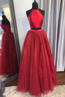 Halter Top Bodice Sparkle Tulle Skirt 2 Pieces Pageant Dresses Red